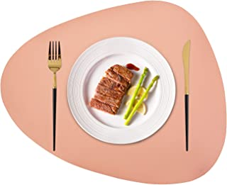 JTX Placemats Set of 2 Round Leather for Dinner Table Mats Heat-Resistant Non-Slip Washable Insulation Coffee Mats Kitchen Place Mats Nordic Style Placemats(Pink, Large)