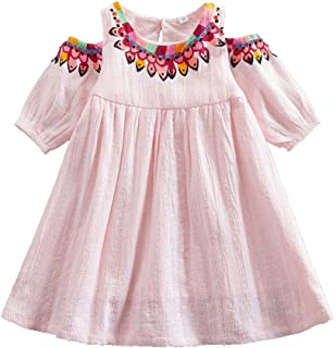 JUXINSU Cotton Girl Middle Sleeve Dress Beach Short Sleeve Dresses for Summer Baby Kids Clothes 1-6 Years SH609