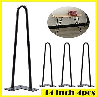 Pieds de table Noir Dragonne Pieds 356cm 35cm en acier massif trous pré-percés 2broches Mid Century Style moderne pou...