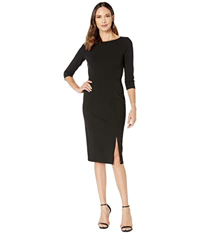 Donna Morgan Boat Neck 3/4 Sleeve Side Slit Crepe Dress (Black) Women