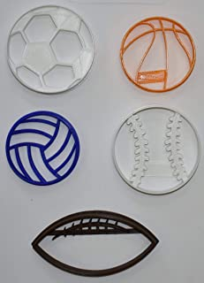 BALLS TEAM SPORTS VOLLEYBALL SOCCER FOOTBALL BASKETBALL BASEBALL SOFTBALL SET OF 5 SPECIAL OCCASION COOKIE CUTTERS BAKING TOOL 3D PRINTED MADE IN USA PR1079