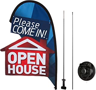 Open House Flag Kit for Real Estate Agents, Suction Cup Attachment, 2 ft, Please Come in Open House