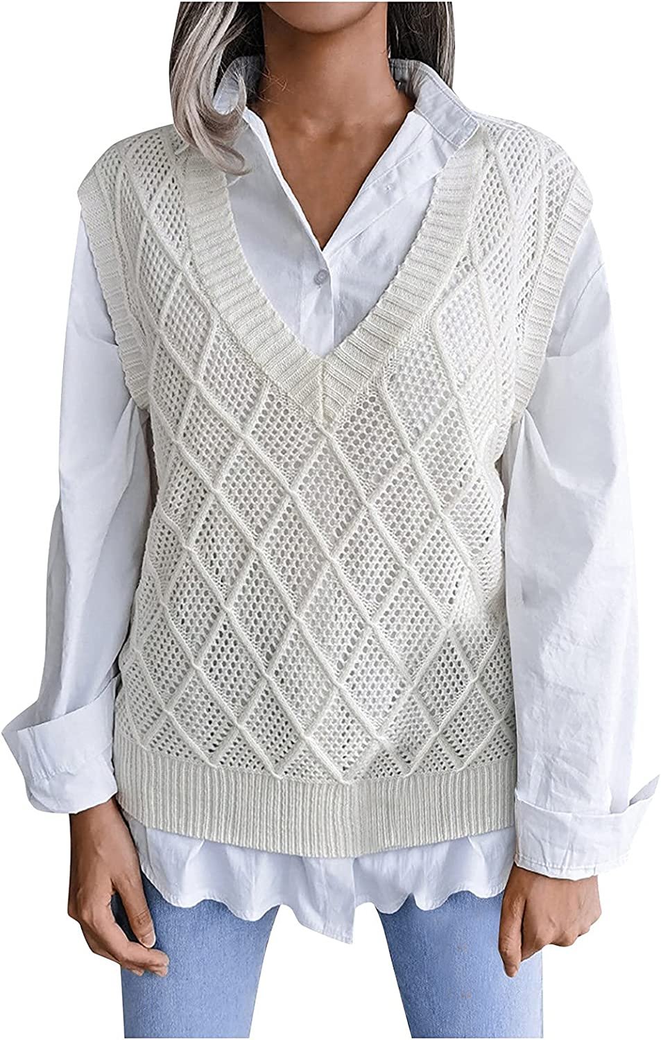 NAMTYQX Argyle Sweater Vest Women V Neck Hollow Sleeveless Casual Pullover Knitted Sweaters