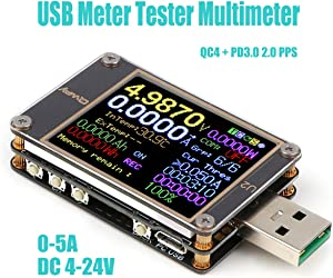 Innovateking-EU USB Meter Tester USB Multimeter Voltage Tester 4-24V Digital Current Meter Resistor Detector Color Display Current Capacity Charger Energy Load Measurement 2 0 3 0