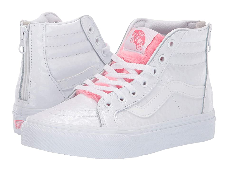 Vans Kids Sk8-Hi Zip (Little Kid/Big Kid) ((White Giraffe) True White/Strawberry Pink) Girls Shoes