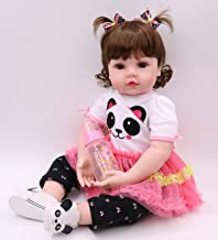 DollMai Reborn Baby Doll 23 inch 58cm Lifelike Handmade Soft Body Silicone Toddler Girl with Panda Clothes