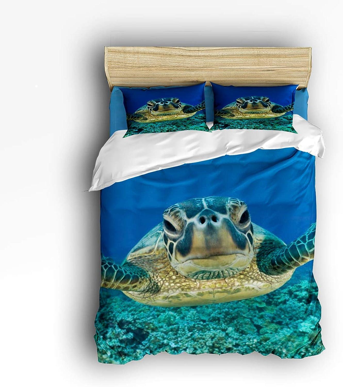 USOPHIA Twin Size 4 Pieces Bed Sheets Set, Turtle Selfie 3D Print Floral Duvet Cover Set