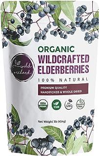 100% USDA Certified Organic Whole Dried Elderberries (Sambucus Nigra) | 1lb bag | Premium Quality | European Wildcrafted |...