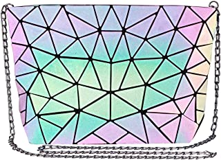 Geometric Luminous Crossbody Bag for women Holographic Reflective Handbags Shoulder Clutch Bag