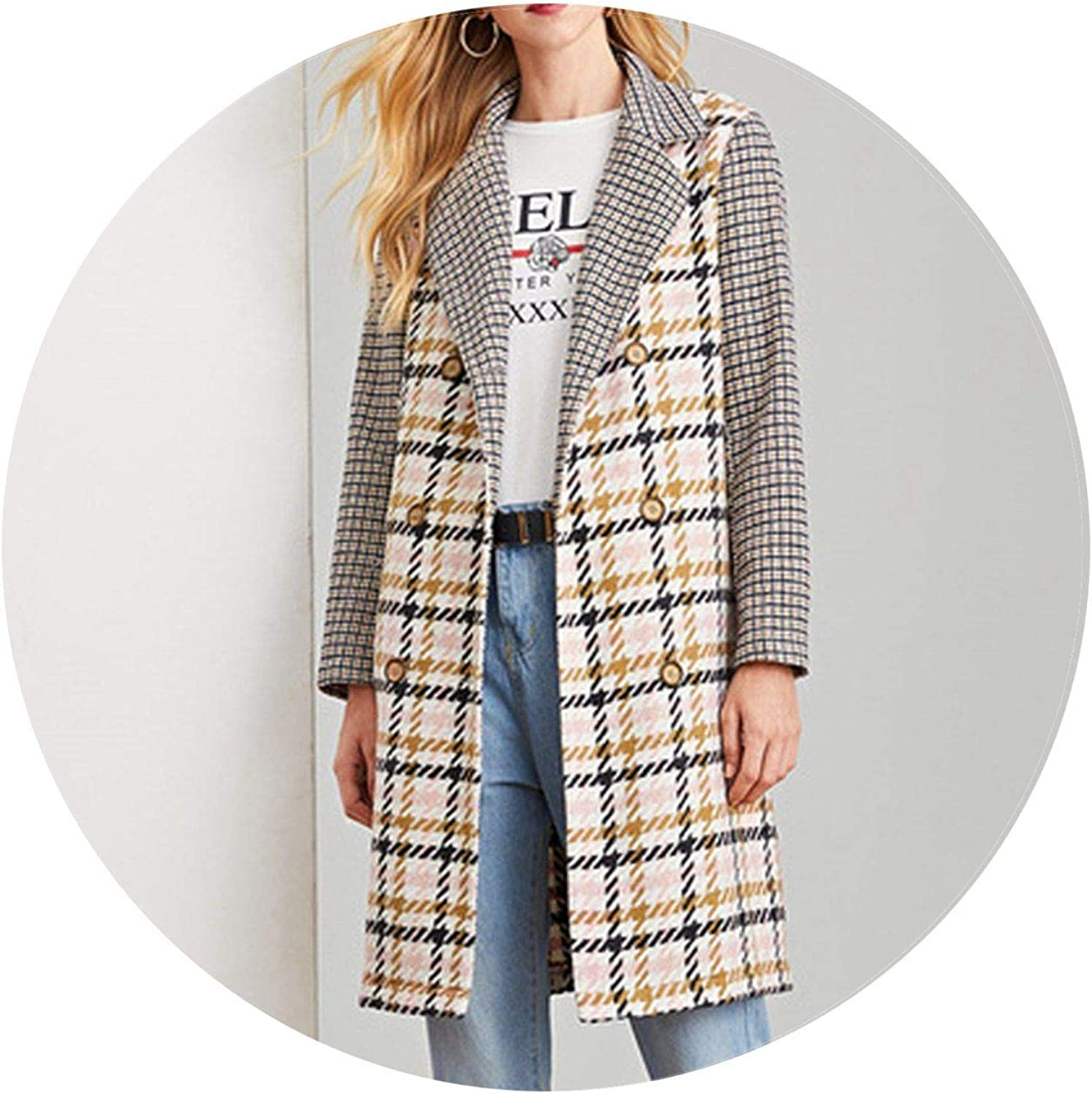 Jifnhtrs Elegant Double Breasted Notched Neck Plaid Coat Women Coats Outerwear