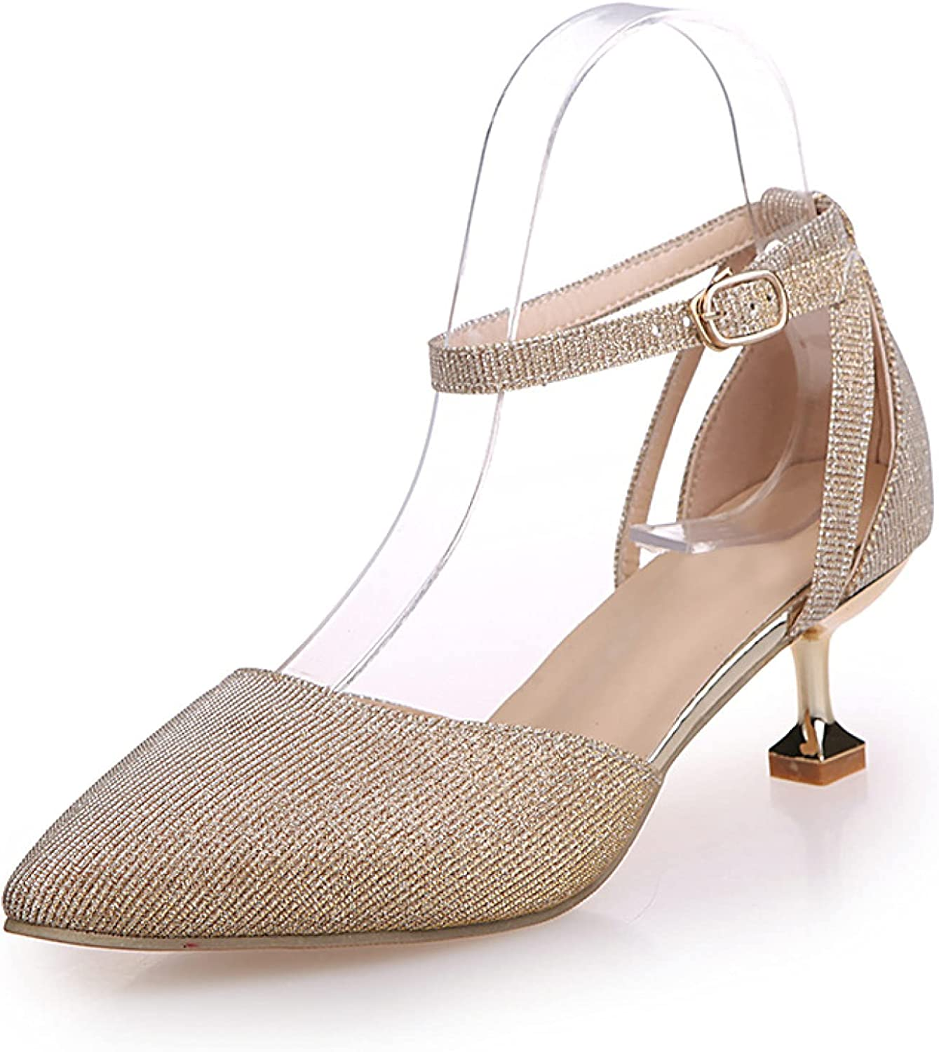 Womens Glitter Closed Pointed Toe Pumps Los Angeles Mall Strap High with Ankle Cheap super special price He