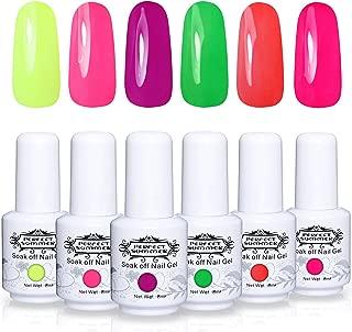 Perfect Summer Gel Nail Polish Starter Kit - 6PCS Neon Colors Gel Nail Varnish Soak Off Bright Color UV LED Manicure Starter Kit 8ML 026