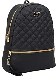 Copi Women's Simple Design Fashion Quilted Casual Backpacks Black