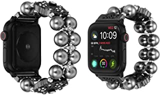 TILON Jewelry Bracelet Compatible for Apple Watch Band 38mm/40mm 42mm/44mm Series 5/4/3/2/1, 2019 Adjustable Handmade Dressy iWatch Wristband Bling Lucky Four Leaf Clover Design for Women Girls