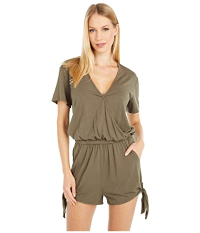bobi Los Angeles Short Sleeve Surplice Romper in Draped Modal Jersey (Brigade) Women