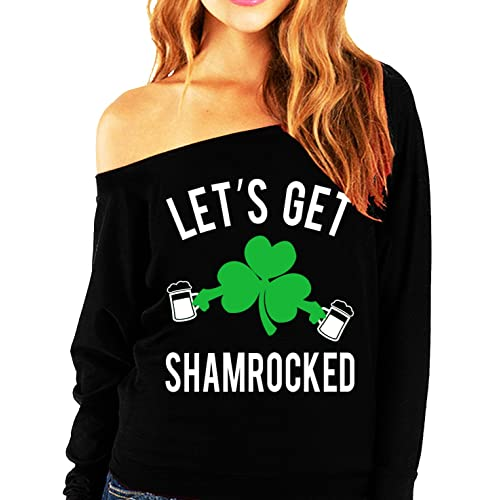 62ada36ee NoBull Woman Apparel Let s Get Shamrocked St. Patrick s Day Slouchy Light  Weight Shirt Black