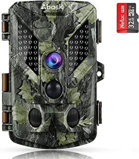 """Abask Trail Cameras 16MP 1080P Full HD Hunting Camera With Night Vision Motion Activated, Game Camera 940nm 44 IR Leds Wildlife Trail Surveillance Cam 2.4"""" LCD for Home, Property, Wildlife, Farm-Brown"""