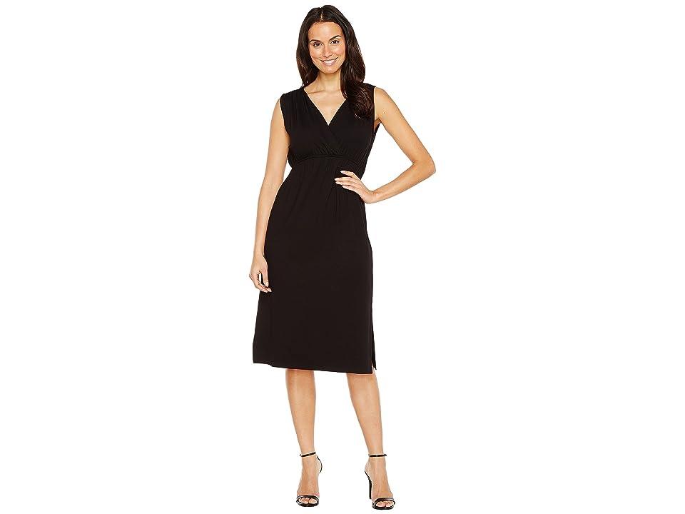 Lilla P Shirred Shoulder Midi Dress (Black) Women