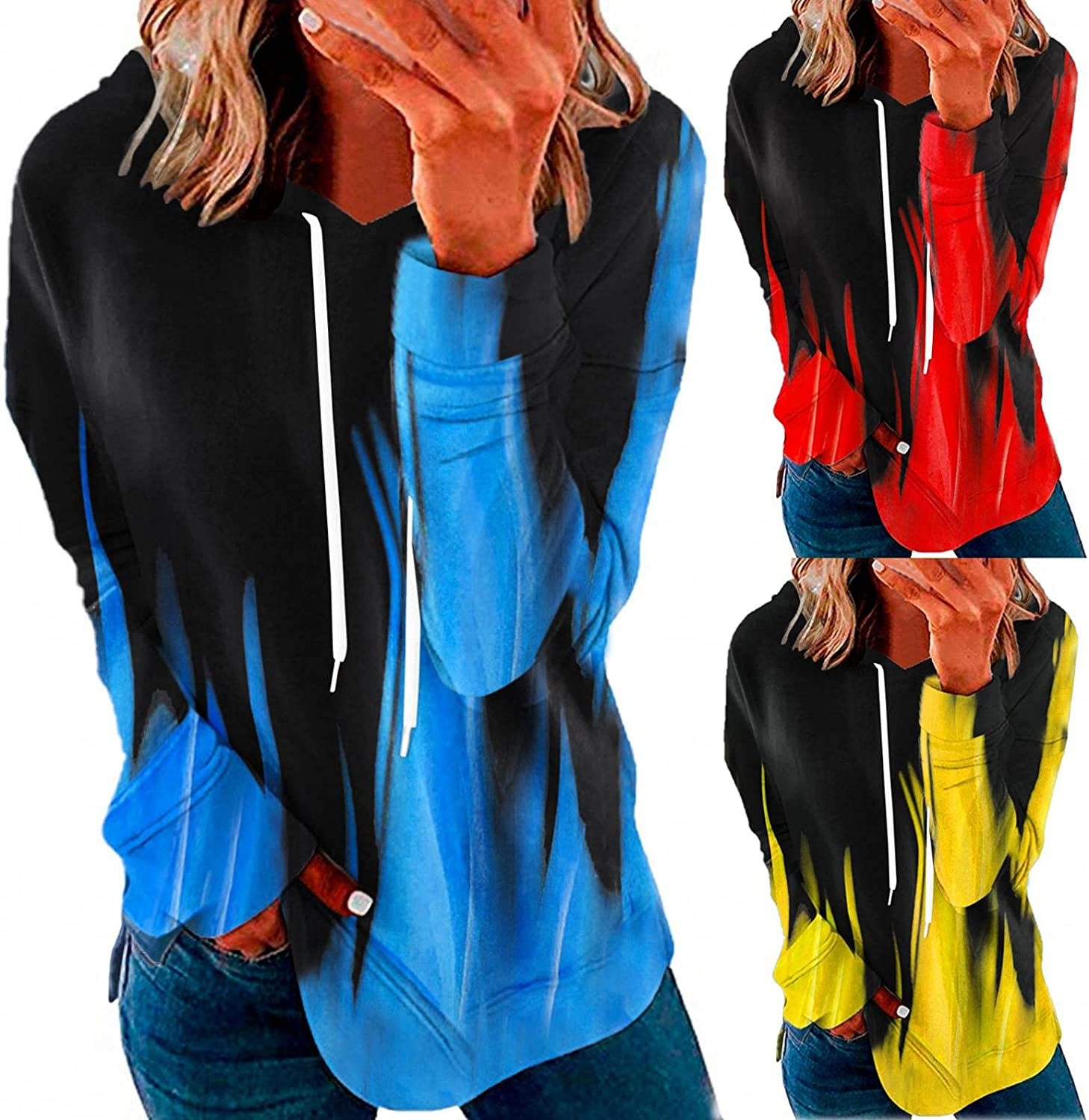 lucyouth Hoodies for Womens, Women Hoodies Casual Plus Size Long Sleeve Print Active Pullover Top Fall Tunic Sweatshirts