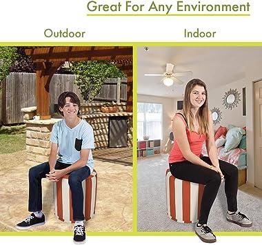 "Majestic Home Goods Burnt Orange Vertical Stripe Indoor/Outdoor Bean Bag Ottoman Pouf 16"" L x 16"" W x 17"" H"