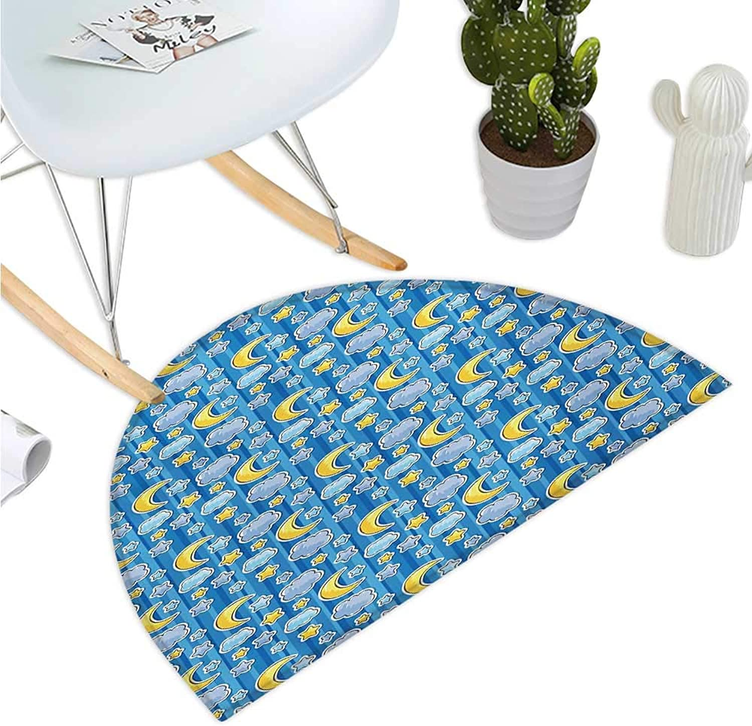 Baby Semicircular Cushion Abstract Skyline with Stars Clouds and Crescent Moon greenical Striped Backdrop Doodle Bathroom Mat H 35.4  xD 53.1  bluee Yellow