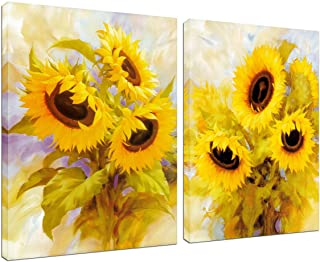 Canvas Wall Art Sunflower Decoration - 2 Panels Home Office Decor Abstract Oil Painting House Farmhouse Kitchen Teen Girls...