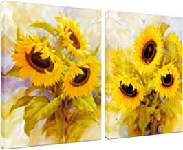 Canvas Wall Art Sunflower Decoration - 2 Panels Home Office Decor Abstract Oil Painting House Farmhouse Kitchen Teen Girls Bedroom Living Room Floral Yellow Flower Picture Frame Artwork Ready to Hang