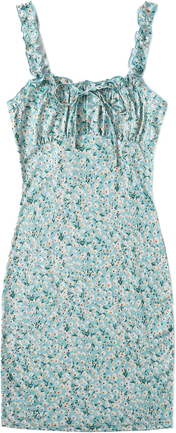 SOLY HUX Women's Floral Print Frill Max 88% OFF Front Tie Ruched 2021 new Sleeveless