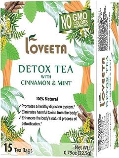 Loveeta Wellness Detox Tea Cinnamon & Mint - 15 Tea Bags (Gmo Free, Gluten Free, Dairy Free, Sugar Free & 100% Natural)