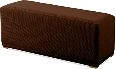 Granbest Premium Water Repellent Ottoman Cover High Stretch Rectangle Folding Storage Stool Ottoman Slipcovers (Ottoman Standard, Chocolate)