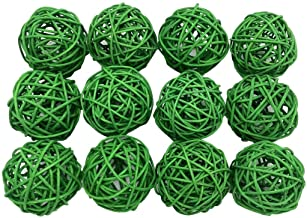 Fascola 12pcs Multi Colors Wicker Rattan Balls, Garden, Wedding, Party Decorative Crafts, Vase Fillers, Rabbits, Parrot, B...