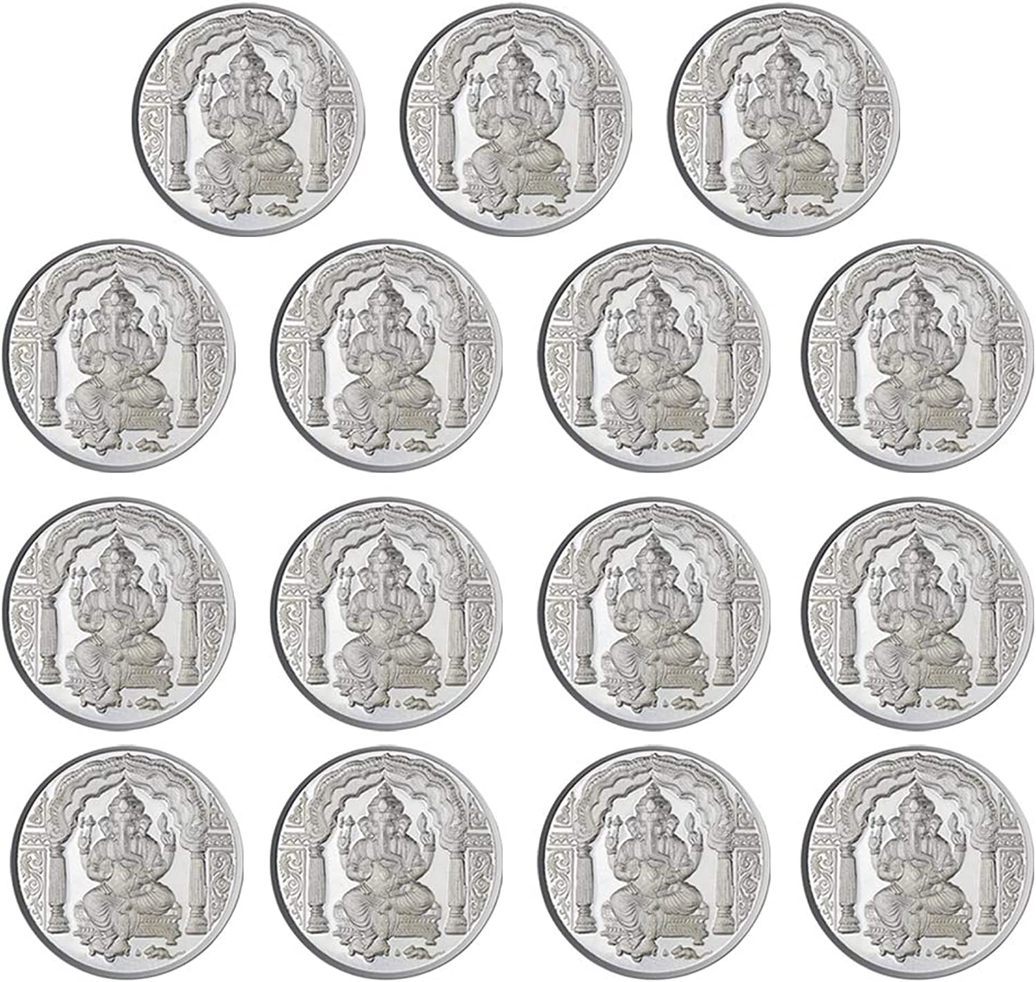 Ganpati Coin In Pure 999 Silver 10 Grams Set Of 15 Religious Coins