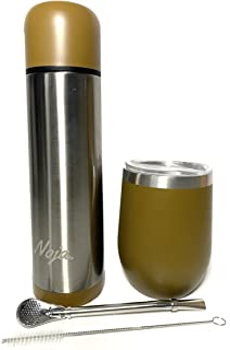 Kit completo de Yerba Mate – Incluye termo térmico (480 ml), calabaza térmica (350 ml), bombilla de acero inoxidable y un ...