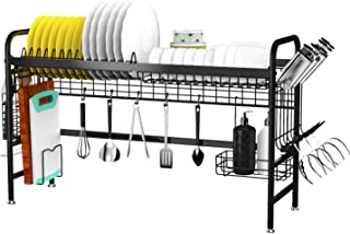 Over the Sink Dish Drying Rack, X-cosrack Stainless Steel Dish Rack with Utensil Holder Hooks Space Saver for Kitchen Supplies Storage Shelf Counter Top,Black