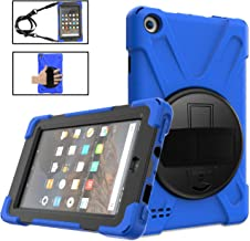 Kindle Fire 7 Case 2019/2017 with Kickstand, Fire 7 Kids Case TSQ Dropproof Durable Rugged Protection Defender Case with Hand Strap/Shoulder Belt for Amazon Fire 7 Tablet 9th/7th Generation,Blue