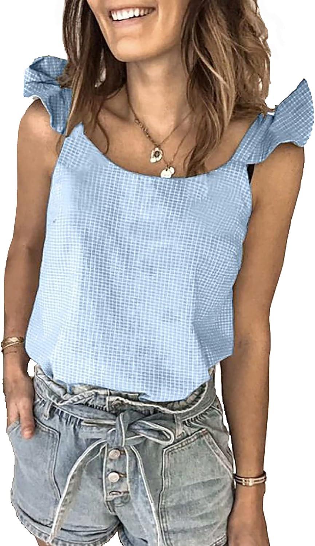 BTFBM Womens Summer Cute Print Loose Tank Tops Shirts Casual Crewneck Sleeveless Ruffle Blouse Tee Tunic Polka Dot Plaid