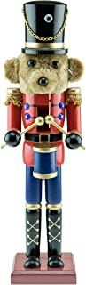 Clever Creations Teddy Bear Drummer Nutcracker - Wearing a Red Jacket and Blue Pants - Traditional Festive Christmas Decor - 15 inch - Perfect Holiday Decoration for Shelves and Tables - Solid Wood