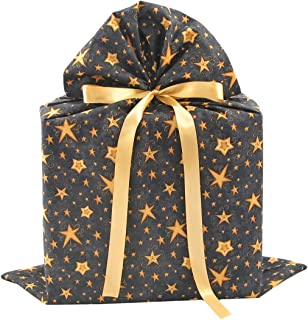 Reusable Black Fabric Gift Bag with Gold Stars for Birthday, Graduation, or Any Occasion (Large 20 Inches High by 27 Inches Wide)