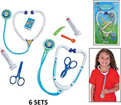 Fun Express Kids 5 Piece Doctor Play Set (6 Sets) Plastic. Syringe, Stethoscope Bandages