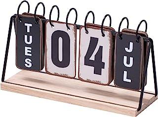 Daily Office Metal Flip Desk Calendar Perpetual Wood Vintage Calendar For Home Decor - Monthly...