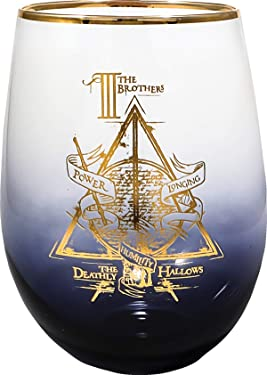 Spoontiques Deathly Hallows Stemless Glass, 20 ounces, Black