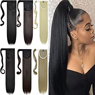 EMERLILY Clip in Ponytail Extension Wrap Around Pony Tail Long Straight 28 Inch Synthetic Ponytail Hair Extensions Hair Pi...