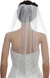 "1T 1 Tier Hemmed Pencil Edge Bridal Wedding Veil Shoulder Length 25"""