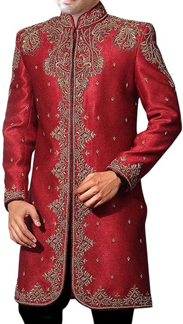 INMONARCH Mens Kurta for Jeans Red Dupion Indo Western Traditional Mens Sherwani IN398