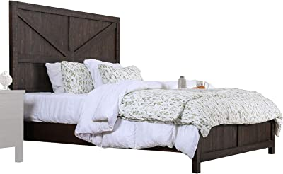 Benjara Transitional Wooden Queen Sized Bed with Plank Style Boards, Brown