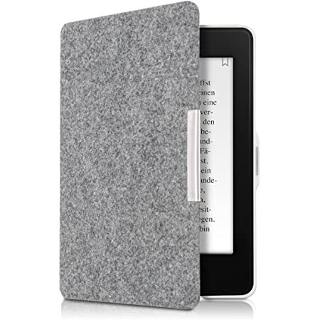 kwmobile Case for  Kindle Paperwhite Book Style Felt Fabric Protective e-Reader Cover Folio Case Light Green//Blue//Dark Grey
