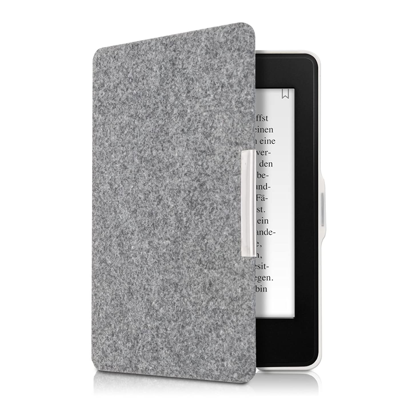 kwmobile Case for Amazon Kindle Paperwhite - Book Style Felt Fabric Protective e-Reader Cover Folio Case - (for 2017 and Older) Light Grey