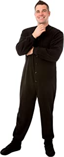 Black Micro Polar Fleece Adult Footed Pajamas with Drop Seat Onesie for Men & Women