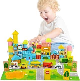 Mumoo Bear Wooden Building Blocks City Blocks Wood Set Educational Stacking Toy for Kids Toddlers Preschool,62 Pieces