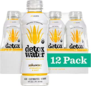 Detoxwater Organic Aloe Vera Infused Prebiotic Water - Piñamint | Contains Highest Quality ACTIValoe® with Electrolytes, Vitamins, & Antioxidants | 30 Calories (Pineapple & Mint, 12 Pack)